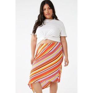 Forever 21 Plus Striped Asymmetrical Hem Skirt